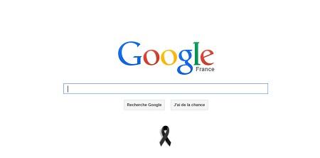 Charlie Hebdo : Google, Amazon, un ruban noir en Home Page