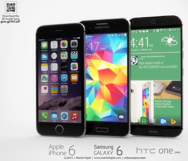 Comparaison HTC One M9 vs GS6 vs iPhone 6