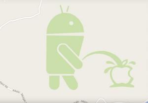 Google Maps robot droid pisse sur Apple