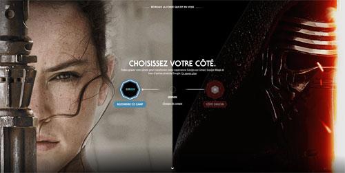 Google site Star Wars choisir côté de la Force