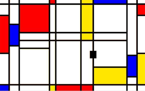 Le jeu Pong dans tableau Mondrian