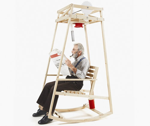 Rocking-chair qui tricote