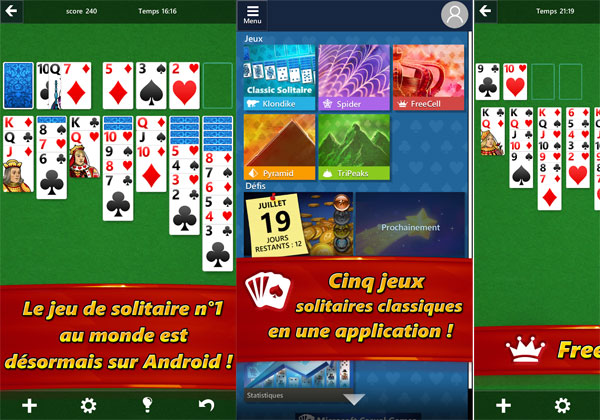 Microsoft Solitaire en appli sur iOS et Android