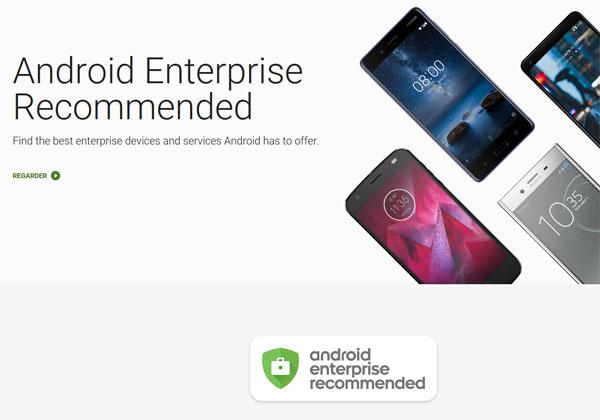 Google Android Entreprise pas de Samsung