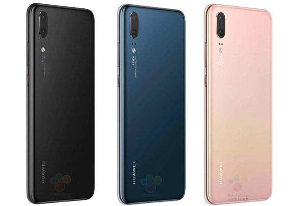 Huawei P20 noir, bleu et rose or