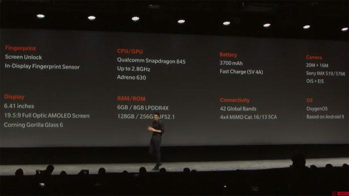 OnePlus 6T toutes les caractéristiques