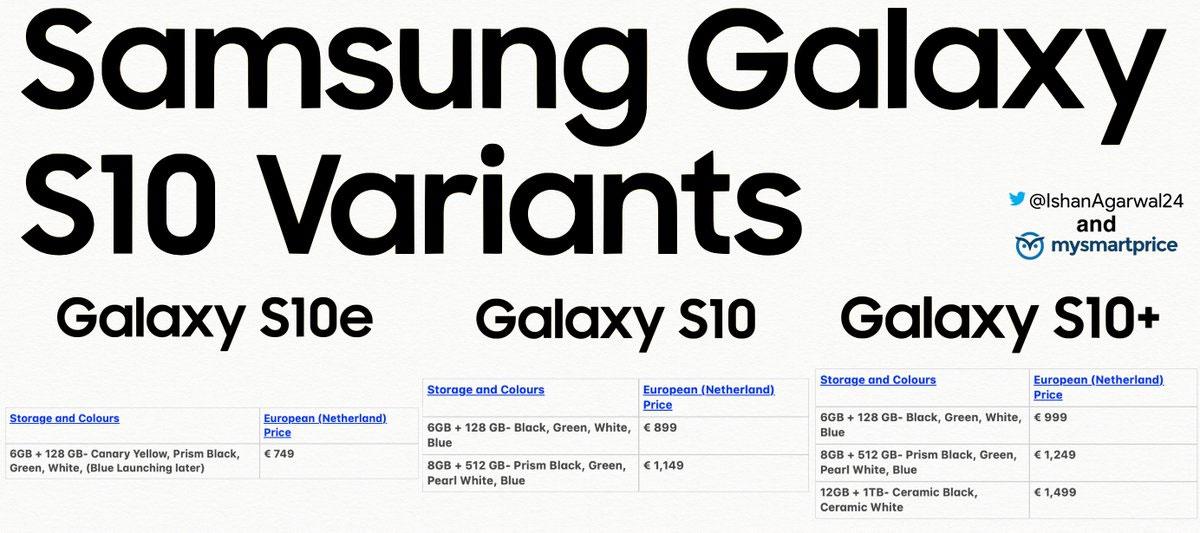 Galaxy S10 le prix de tous les modèles