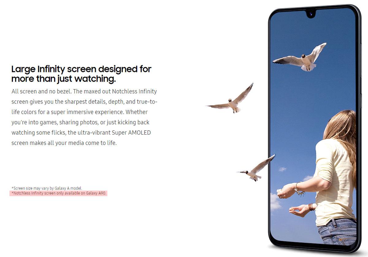 Samsung Galaxy A90 un écran Infinity sans encoche