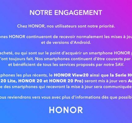 Honor les smartphones mise à jour vers Android Q