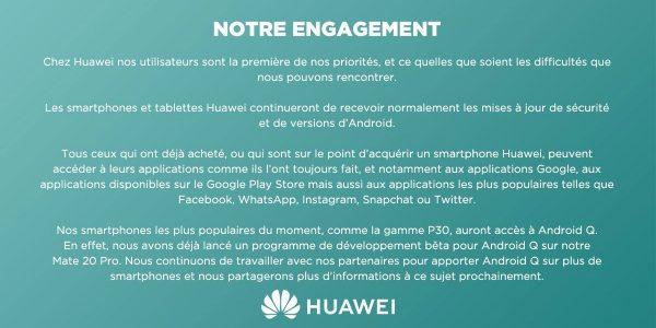 Huawei les smartphones mis à jour vers Android Q