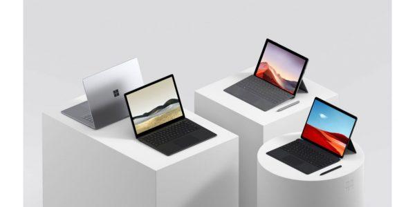 Microsoft Surface Pro X, Pro 7, Surface Laptop les caractérsiitques