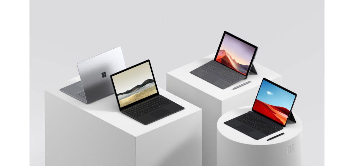 Microsoft Surface Pro X, Pro 7, Surface Laptop les caractéristiques