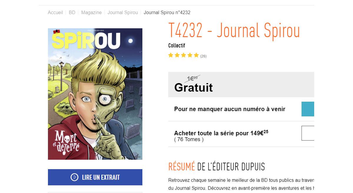 Le journal de Spirou gratuit pour le confinement