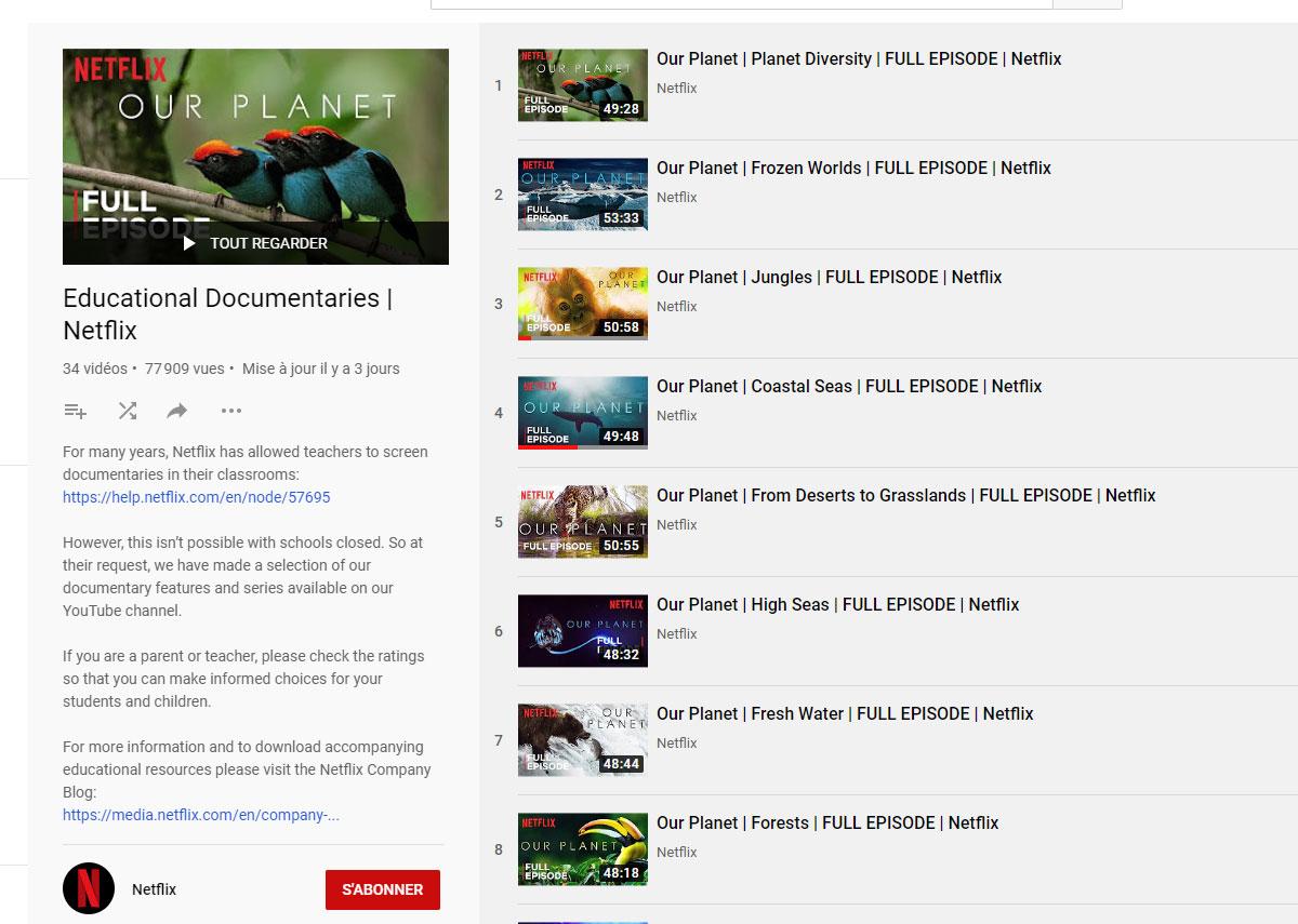 Confinement - Netflix met ses documentaires gratuits