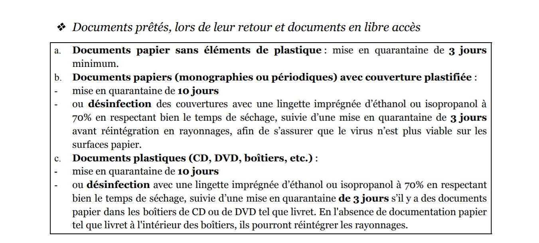 recommandations désinfection decontamination des livres covid-19