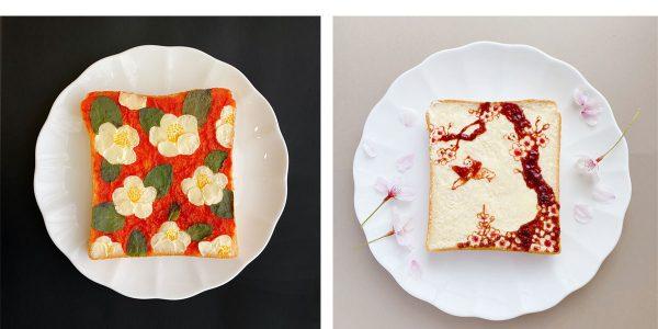 Japon des toasts transformés en tableaux