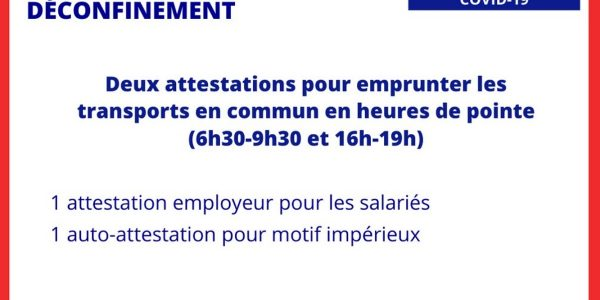 attestation heures de pointe deconfinement