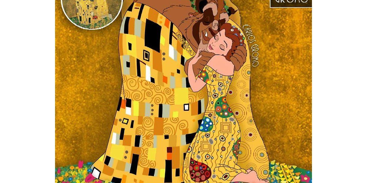 Les personnages Disney dans le tableau le Baiser de Gustave Klimt
