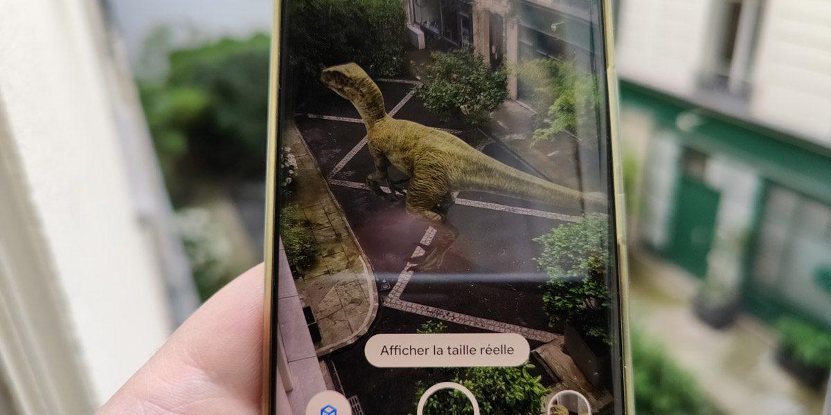 Google Search des dinosaures en réalité augmentée