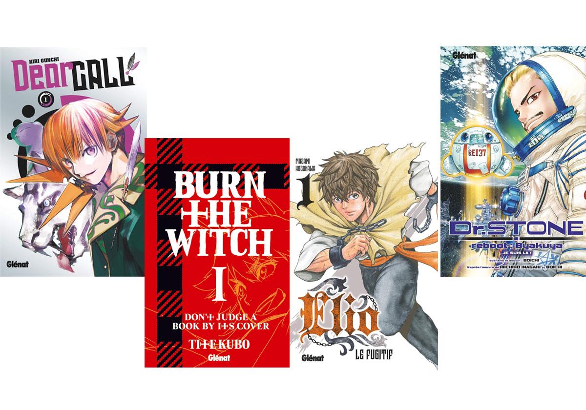 4 mange à lire : Dear Call, Elio le fugitif, Burn the witch, Dr. Stone - Reboot Byakuya