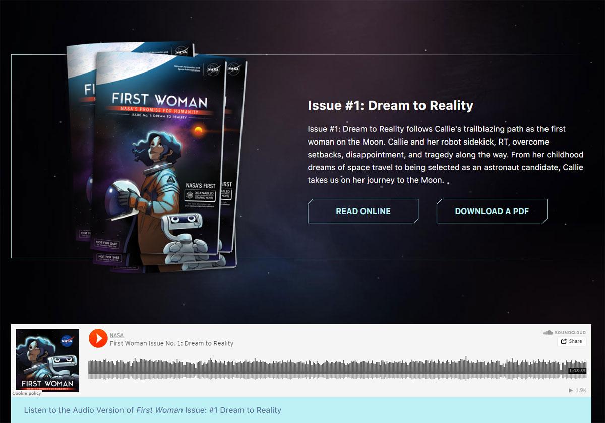 Une BD éditée par la NASA gratuite et en réalité augmentée Frist Woman